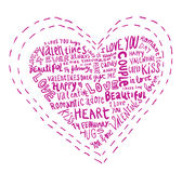 Heart made of words Love, vector illustration. Stock Photography