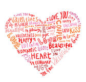 Heart made of words Love, vector illustration. Royalty Free Stock Image