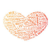 Heart made of words Love, vector illustration Stock Images