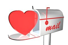 Heart in mail box. Heart coming out of a mail box, 3d render Stock Photography