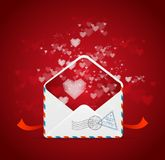 Heart and mail Valentines day card vector Royalty Free Stock Photography