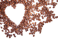 Heart make whit coffee beans on white background. Royalty Free Stock Images