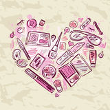 Heart of Makeup products set. Stock Images