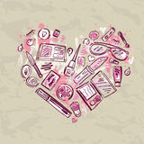 Heart of Makeup products set. Royalty Free Stock Image