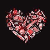 Heart of Makeup products set. Royalty Free Stock Photography