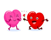 Heart male character kneeling give  rose flower to his  girlfriend. Stock Image