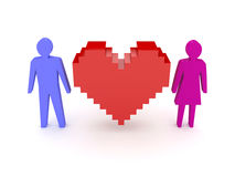 Heart with male and female figures on both sides. Concept 3D illustration Stock Photos