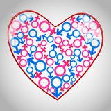 Heart with male female icons Royalty Free Stock Photography