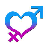Heart with Male Female Signs. A blue pink heart symbol with male and female gender symbols stock illustration
