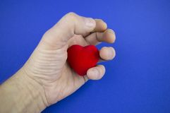 Heart in the male palm on a blue background, there is free space to fill royalty free stock photography