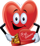 Heart Man with Box Of Chocolates. A cartoon heart holding a box of chocolates Stock Images
