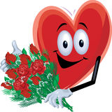 Heart Man with Roses. A cartoon heart holding a dozen roses Royalty Free Stock Image