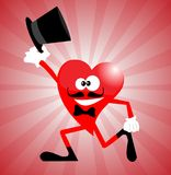 Heart Man with stovepipe hat Royalty Free Stock Photos