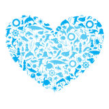 Heart with marine life. Blue heart with sea silhouette on a white background Stock Image