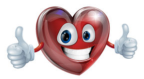 Heart mascot graphic. A happy heart mascot smiling and giving a thumbs up Royalty Free Stock Photo