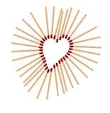 Heart from matchsticks Stock Photos