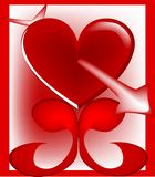Heart matters. Red heart with an arrow through it on scroll stand Stock Photos