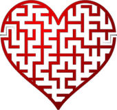Heart maze. Illustration red heart shaped maze Royalty Free Stock Photography