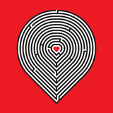 Heart maze on red background Royalty Free Stock Photos
