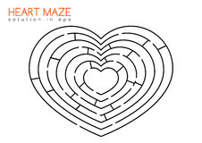 Heart maze with solution. Isolated maze in the shape of heart with solution in hidden layer of eps Royalty Free Stock Photos