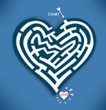 Heart Maze. Valentine Day and Courtship Concept in Blue Background. Stock Images
