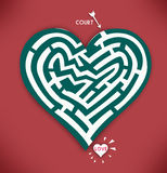 Heart Maze. Valentines Day and Romance in Red. A concept illustration of a heart with maze game about love, courtship and relationship in red background jpg vector illustration
