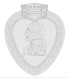 Heart Medal Outline. A heart medal isolated on a background Royalty Free Stock Photos