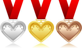 Heart medals Stock Image