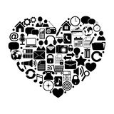 Heart with media icons Stock Photography