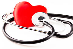 Heart medical care. With stethoscope stock images