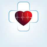 Heart medical cross. EPS 8 Stock Image