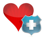 Heart medical protection by a shield Royalty Free Stock Images