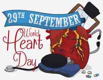 Heart with Medical Tools Commemorating World Heart Day, Vector Illustration Stock Photo