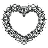 Heart Mehndi design, Indian Henna tattoo pattern - love concept Royalty Free Stock Images