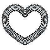 Heart Mehndi design, Indian Henna tattoo pattern Royalty Free Stock Images