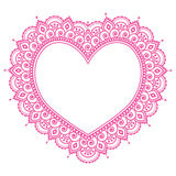 Heart Mehndi pink design, Indian Henna tattoo pattern - love concept Stock Photography