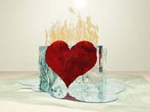 Heart Melt. Heart on fire melting ice Stock Photos