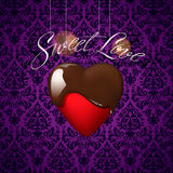 Heart with melted chocolate on floral ornament Stock Image