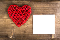 Heart with memo on wood Background. Wedding Love Concept Royalty Free Stock Images