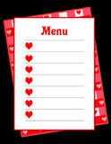 Heart Menu. A blank digital menu illustration with copy space. Heart health concept Royalty Free Stock Photo