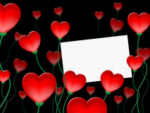 Heart Message Indicates Valentine Day And Communicate Stock Images