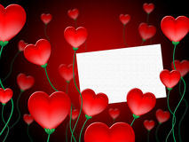 Heart Message Represents Valentine Day And Communication Stock Image