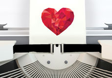 Heart message Typewriter. 3D graphics rendering software concepts about love from typewriters on a white background Stock Image