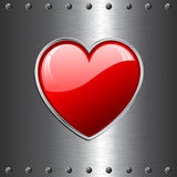 Heart on metal background Stock Photo