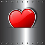 Heart on metal background Royalty Free Stock Photography