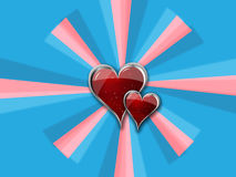 Heart with Metal Borders on blue_pink pinwheel. Vector Art Design double hearts over blades Stock Illustration