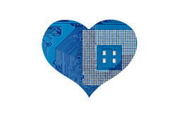 Heart from microcircuit. Isolated on white background Stock Photos