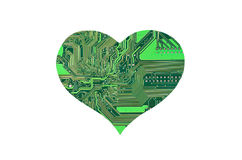 Heart from microcircuit. Isolated on white background Stock Photo