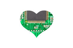 Heart from microcircuit. Isolated on white background Royalty Free Stock Photo