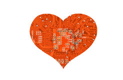Heart from microcircuit. Isolated on white background Stock Images